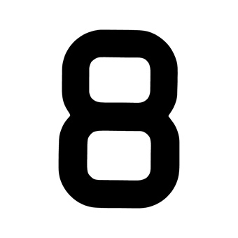 9 Inch | 235mm Polyester Insignia Black Sail Number - No 8