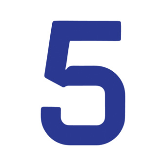 9 Inch | 235mm Polyester Insignia Blue Sail Number - No 5