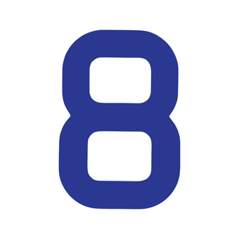 9 Inch | 235mm Polyester Insignia Blue Sail Number - No 8