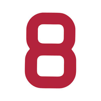 9 Inch | 235mm Polyester Insignia Red Sail Number - No 8