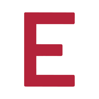 12 Inch | 308mm Polyester Insignia Red Sail Letter - E
